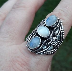 Jewelry - New Unique Rainbow Moonstone Silver Ring. Sz 9.75